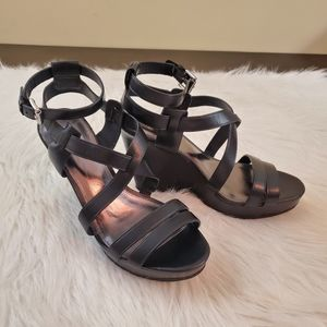 **Coach Macey Sz 7.5 Wedge Heeled Strappy Sandals